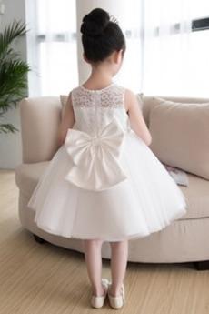 Tüll Bogen Leistung Trichter Glamourös Ärmellos Blumenmädchen kleid