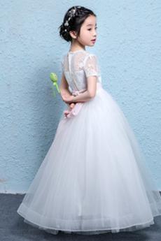 Tüll Natürliche Taille T Hemd Formalen Schärpen Blumenmädchen kleid