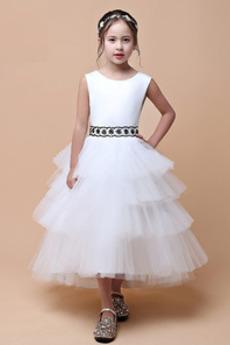 Ärmellos Juwel Hochzeit Sommer Teelänge Tüll Blumenmädchen kleid
