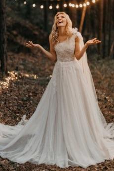 Drapiert A Linie Natürliche Taille Reißverschluss Hochzeitskleid