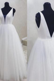Ärmellos Fegen zug V-Ausschnitt Draussen Frenal Hochzeitskleid