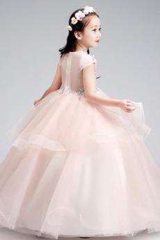 Knöchellänge Appliques Winter Reißverschluss Kleine Mädchen Kleid