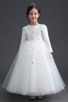 Formalen T Hemd Appliques Juwel Lange Ärmel Kleine Mädchen Kleid