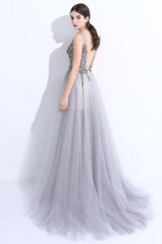 Trichter Kristall Juwel akzentuiertes Mieder Lehnenlose Abendkleid