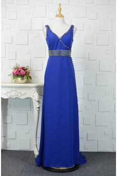 V-Ausschnitt Natürliche Taille Übergröße Perlengürtel Blaue Abendkleid