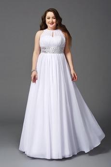 Bördeln Ärmellos Juwel Frühling Tanzparty Frenal Weiß Abendkleid