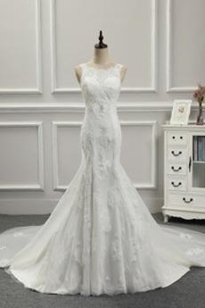Formalen Invertiertes Dreieck Lange Ärmellos Mantel Brautkleid
