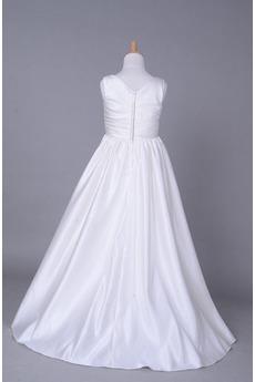 Fallen Lange V-Ausschnitt Satiniert Gerafft Kleine Mädchen Kleid