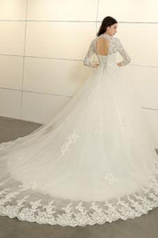 Kirche Hoher Hals Illusionshülsen A Linie Lange Hochzeitskleid