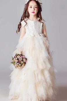 Mehrschichtig Mit geschlossenen Ärmeln Spitze Blumenmädchen kleid