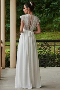 Bodenlänge Ärmellos V-Ausschnitt Sommer Appliques Brautkleid