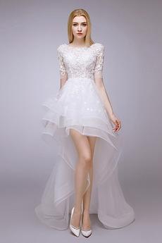 Breit flach Mehrschichtig Asymmetrisch Satiniert Abgestuft Brautkleid