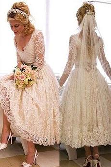 Spitze Fallen Strand Lange Ärmel Reißverschluss Hochzeitskleid
