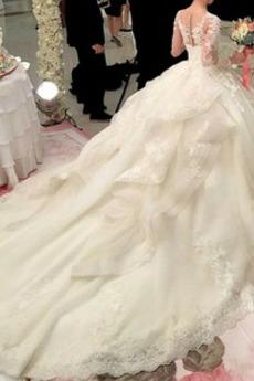 Spitze T Hemd Spitzenüberlagerung Satin Lange Natürliche Taille Brautkleid