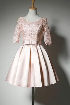 Prinzessin Spitze Schöne Natürliche Taille Scoop Illusionshülsen Abendkleid