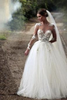 Tüll Natürliche Taille A Linie Schaukel Bodenlänge Brautkleid