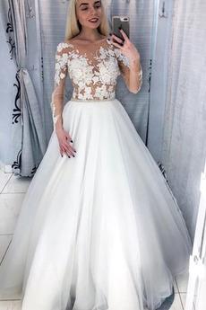 Lange Ärmel Draussen Breit flach Reißverschluss Illusionshülsen Brautkleid