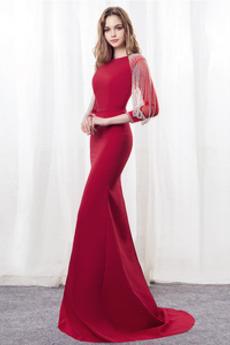 Natürliche Taille Formalen Reißverschluss Meerjungfrau Abendkleid