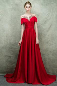 A Linie Natürliche Taille Juwel akzentuiertes Mieder Abendkleid