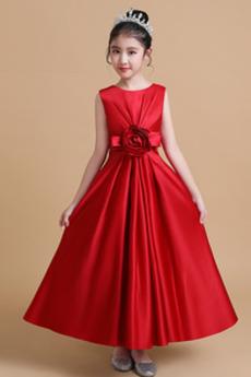 Ärmellos Trichter Gefaltete Mieder Elegante Blumenmädchen kleid