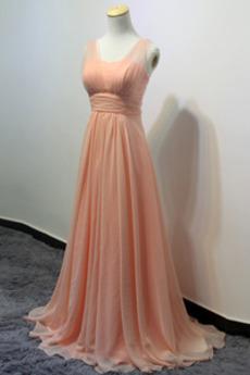 Elegante Breite Riemen Reißverschluss Sommer Brautjungfernkleid