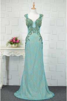 Reißverschluss Blau Sternenklar Ärmellos Juwel akzentuiertes Mieder Abendkleid