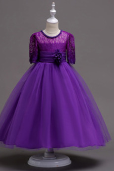 Dunkellila Knöchellänge Prinzessin Lange Ärmel Blumenmädchen kleid