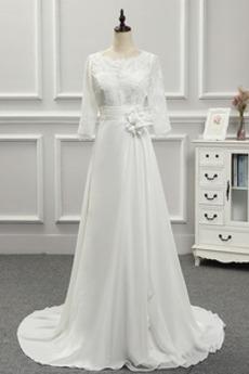 Reiner zurück Juwel Fegen zug T Hemd Akzentuierte Rosette Brautkleid