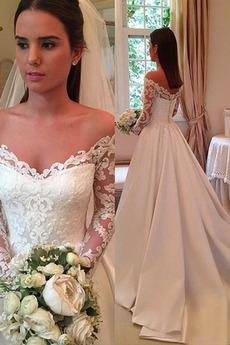 Spitzenbesatz Jahrgang Spitzenüberlagerung A Linie Hochzeitskleid