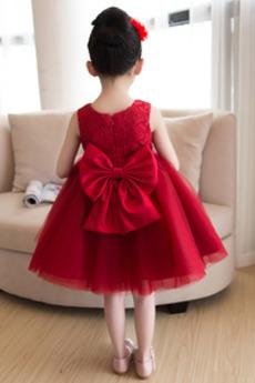 Mitte zurück Ärmellos Glamourös Spitzenüberlagerung Kleine Mädchen Kleid