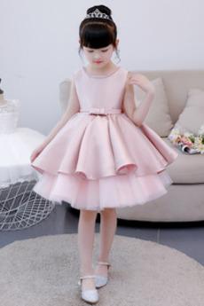 Juwel Trichter Natürliche Taille Ärmellos Kleine Mädchen Kleid