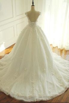Blumen Natürliche Taille V-Ausschnitt Fallen Formalen Brautkleid