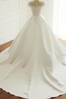Lange Gerafft Natürliche Taille Reißverschluss Satin Brautkleid