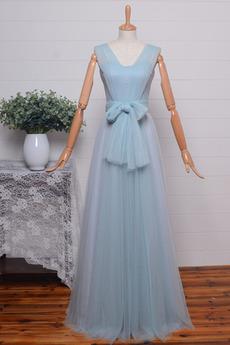 v-Hals Bodenlänge A Linie Ärmellos Tüll Natürliche Taille Brautjungfernkleid