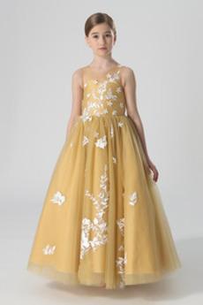 Juwel Spitzenüberlagerung Ärmellos Bodenlänge Blumenmädchen kleid