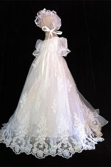 Spitze Hoch bedeckt Natürliche Taille Spitze Blumenmädchen kleid