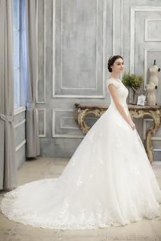 Schlüsselloch zurück Halle Lange Frühling Mit geschlossenen Ärmeln Hochzeitskleid
