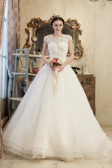 Winter Drapiert Schnüren Lange Juwel akzentuiertes Mieder Brautkleid mit kurzen Ärmeln