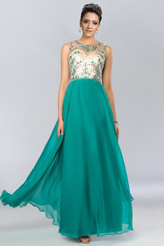 Knöchel Länge Juwel Chiffon Frühling Juwel akzentuiertes Mieder Abendkleid