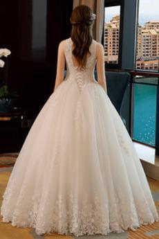 Tüll Königin anne Natürliche Taille Formalen Bodenlänge Brautkleid