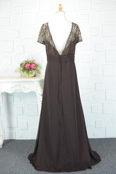 Jahrgang v-Hals Natürliche Taille Rückenfrei Mutter der Braut Kleid