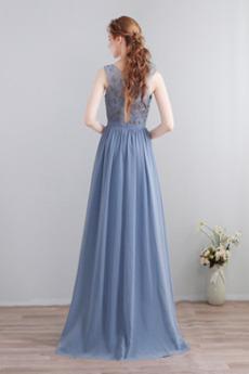 A Linie Juwel Partei Drapiert Spitze Natürliche Taille Trauzeugin kleid