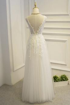 Partei Drapiert Tüll Romantisch Sommer Ärmellos Brautjungfernkleid