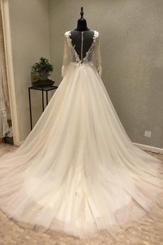 Reiner zurück Draussen Tüll Mehrschichtig Bateau Jahrgang Brautkleid