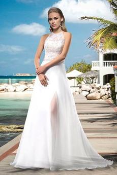 Bördeln Dünn Elegante Reißverschluss Natürliche Taille Hochzeitskleid