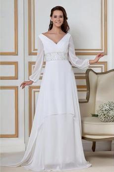 Perlengürtel V-Ausschnitt Strand Natürliche Taille Hochzeitskleid