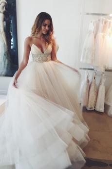 Fallen Natürliche Taille Ärmellos Länge des Bodens Tüll Brautkleid