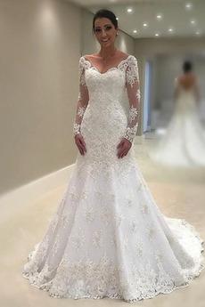 Reißverschluss Klassisch Spitzenüberlagerung Spitze Brautkleid