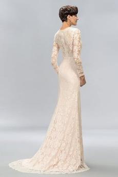 Spitze Frühling Reißverschluss Juwel Sexy Spitze Lange Abendkleid