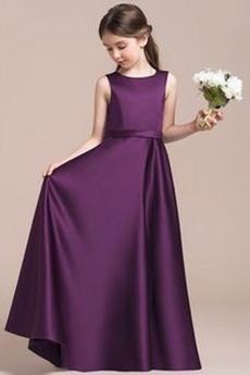 Frühling Einfach Juwel Ärmellos Trichter Kleine Mädchen Kleid